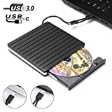 External DVD Drive for Laptop,JFUNE USB 3.0 / C Portable CD/DVD/RW Player Surface Pro,DVD/ROM Rewriter Reader Burner Lightscribe Compatible for MacBook Air/Pro Notebook MAC OS Windows 7/8/10 (White)