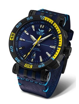 Vostok-Europe Energia 2 NH35-575C280 Leather Blue Yellow Watch Pilot Automatic 49mm