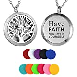 HooAMI Aromatherapy Essential Oil Diffuser Necklace - Have Faith & Believe in Yourself Tree of Life Locket Pendant