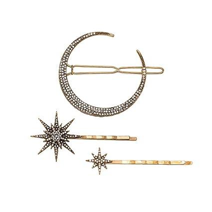 Frcolor 3 unids Vintage Hair Pin Rhinestone Luna Copo de Nieve Estrella Pinza de Pelo Bobby Pin Barrette Accesorios para el Cabello para Mujeres Niñas