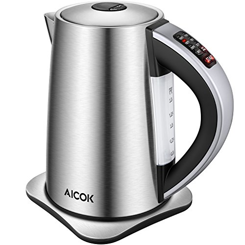 Electric Kettle Temperature Control, AICOK Stainless Steel Tea Kettle with Variable Temp, Cordless Electric Water Kettle with 1500W SpeedBoil, Auto Shut Off and Boil-Dry Protection, 1.7-Liter Boiler