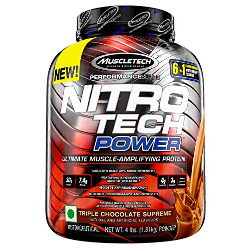 Muscletech Performance Series Nitrotech Power Post-Workout, 60g Protein, 14.8g BCAAs, 8g Leucine, 6g Creatine 2.5 Betaine – 4 lbs (1.81 kg) (Triple Chocolate Supreme)