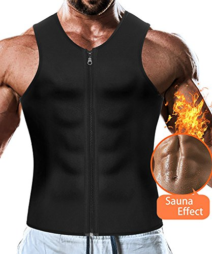 VENAS Men Waist Trainer Vest Weightloss Hot Neoprene Corset Compression Sweat Body Shaper Slimming Sauna Tank Top Workout Shirt (Black, L)