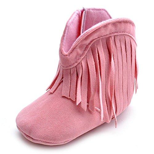 ESTAMICO Baby Girls Cowboy Tassel Boots Pink US 0-6 Months