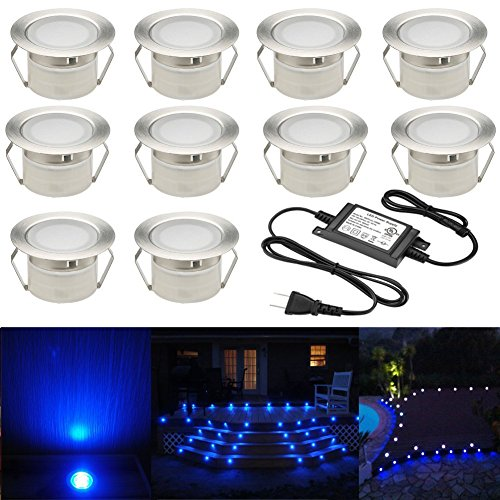 Low Voltage 10pcs LED Deck Lights Kit 1-3/4' Stainless Steel Recessed Wood Outdoor Yard Garden Decoration Lamp Patio Stairs Landscape Outdoor Lighting, Blue