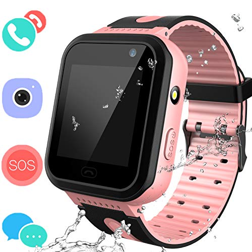 Smart Watches Phone for Boys Girls - Kids Water-Resistant Wrist Watch with Call SOS Voice Chat Camera Flashlight Alarm Sports Bands Gifts for Children Age 4-12 (02 S7 Pink)