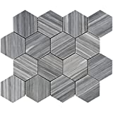 Bardiglio Gray Vein-Cut Marble Hexagon Mosaic Tile 3 inch, Polished (SAMPLE)