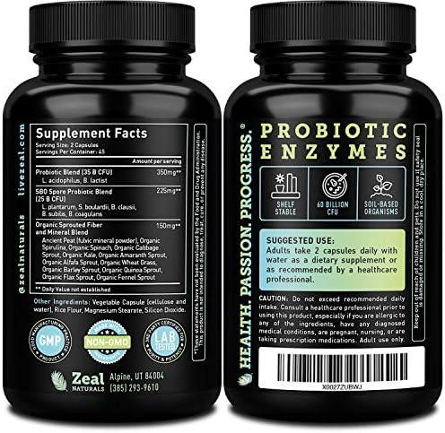 Probiotics and Prebiotics + SBO Probiotics (60 Billion CFU   90 Capsules) Acidophilus Probiotic w. Saccharomyces Boulardii, Bifidobacterium + Spore Probiotic & Organic Sprouted Prebiotic Fiber Blend 2