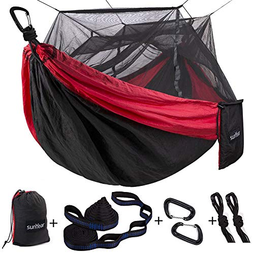 Single & Double Camping Hammock with Mosquito/Bug Net, 10ft Hammock Tree...