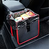 Geekercity Car Wastebasket Black Garbage Can Leak-Proof Waterproof Auto Trash Bag Waste Bin Multipurpose Litter Basket Organizer [Easy to Hold The Garbage Bag] (Red)