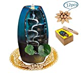 YANX Incense Burner, Ceramic Backflow Incense Holder, Home Decor Aromatherapy Ornament, with Incense Cones, Cushion, Artificial Lotus Leaf