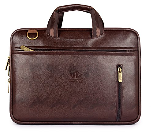 The Clownfish Elegant 15.6 Inch Faux Leather Chocolate Laptop Briefcase(Chocolate Brown)