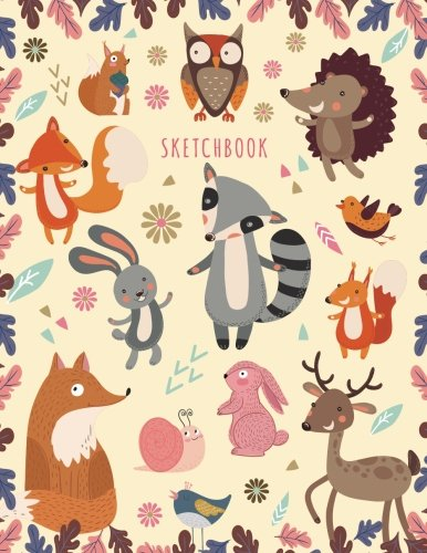 Sketchbook: Sketchbook for Girls: Cute Cartoon Forest Animals! (Owl, Fox, Birds, Rabbits, Deer) Sketching Journal / Blank Drawing - Extra Large 108+ Pages (Blank Sketch book For KIDs)