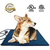 Pet Heating Pad Large,Electric Heated Dog Beds Pad,Dogs Cats Waterproof Adjustable Warming Mat with Chew Resistant Steel Cord,Soft Removable Cover,Overheating Protection(Square 50cm, Blue) ...
