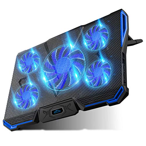 Carantee Laptop Cooling Pad 5 Quite Fans Notebook Cooler Pad USB Powered, Blue LED Light, 7 Level Adjustable Mount Stands (Blue)