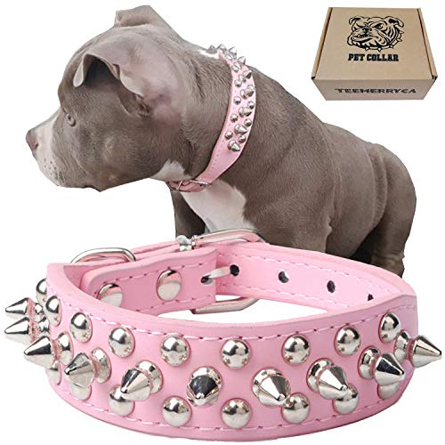 teemerryca Pink Leather Spiked Dog Collars for Large Dogs Girls Durable Studded Large Dog Collars for Pugs Bulldogs Husky Boston Terrier Adjustable Dog Collars 15.7'-18.5'
