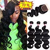 WENYU Brazilian Virgin Body Wave 3 Bundles with Closure 8A 100% Unprocessed Virgin Body Wave Human Hair Weave Weft Extensions with 4x4 Lace Closure Natural Color(10 12 14+10Free Part)