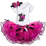 NNJXD Girl Ladybirds Tutu 1st ONE Birthday 3 Pcs Outfits Romper+Skirt+ Gold Headband Size (1) 1 Year Rose