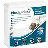 PlushDeluxe Premium Zippered Mattress Encasement, Waterproof, Bed Bug & Dust Mite Proof 6-Sided Protector Cover, Hypoallergenic Cotton Terry Surface (Fits 9''-12'' H) Twin XL, 10-Year Warranty