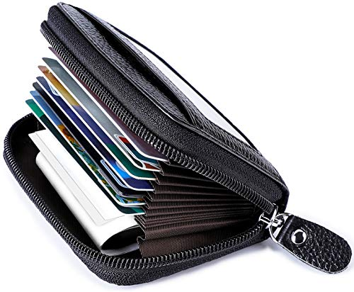 RFID Blocking Leather Wallet for Women,Excellent Women's Genuine Leather Credit Card Holder Black