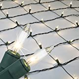 Kringle Traditions 15253 Clear Christmas Net Lights with 150 Lamps on Green Wire, 4' x 6'