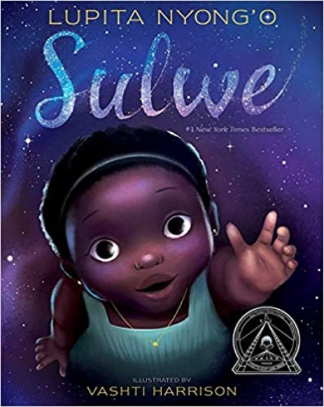 Book cover image showing a dark-complexioned, little Black girl with large eyes.  Her mouth is opened and she is stretching one hand out.  She is wearing a headband in her short black hair and a turquoise short-sleeved dress.