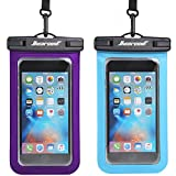 Hiearcool Universal Waterproof Case,Waterproof Phone Pouch - IPX8 Cellphone Dry Bag for iPhone XR/8/ 8plus/7/7plus/6s Samsung Galaxy s10/s9 Google Pixel 2 HTC LG Sony Moto up to 7.0' - 2 Pack