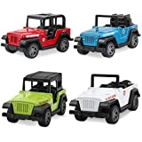 Jeep Toys Pull Back Vehicles, Jeep Toy Model Vehicles Toy Gifts for Baby Toddler Boys Girls, 4 Pieces Gift Pack(Color Picks at Random)