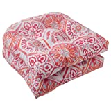 Pillow Perfect Outdoor Summer Breeze Wicker Seat Cushion, Flame, Set of 2