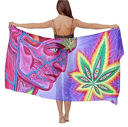 Womens Girls Trippy Marijuana Leaf Weed Pot Leaf Scarf Cape Summer Large Swimsuit, Light Infinity Scarf Fashion Sexy Bathing Suit...