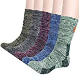 KONY Men's Trekking Hiking Socks, Cotton Moisture Wicking Thick Cushioned Outdoor Crew Socks, Mid Calf, Size 8-12(Mix-1, Medium)