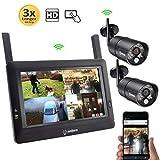 Sequro GuardPro DIY Long Range Wireless Video Surveillance System 7' Touchscreen Monitor 2 Outdoor/Indoor Night Vision IP66 Weatherproof HD Network DVR Home Security IP Cameras Smartphone Access