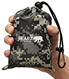 BEARZ Outdoor Beach Blanket/Compact Pocket Blanket 55?x60? - Lightweight Camping Tarp, Waterproof Picnic Blanket, Festival Gear, Sand Proof Mat for Travel, Hiking, Sports - Packable w/Bag (Camo)