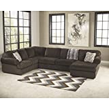 Signature Design by Ashley Jessa Place Sectional in Chocolate Fabric