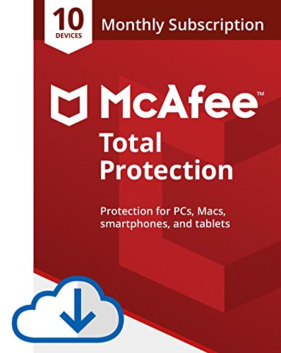 McAfee Total Protection Antivirus  Internet Security  10 Device  1 Month Subscription with auto renewal  2019 Ready