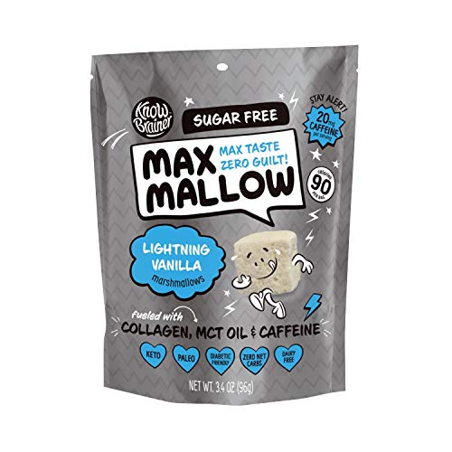Know Brainer Max Mallow Lightning Vanilla | Guilt-Free & Zero Sugar Marshmallow - Low Carb, Gluten Free & Ketogenic | Marshmallow Fueled with Collagen, MCT Oil & caffeine| Pack of 3 (9.9oz) 2