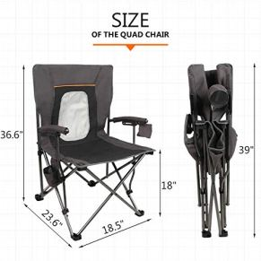 PORTAL-Camping-Chair-Folding-Portable-Quad-Mesh-Back-with-Cup-Holder-Pocket-and-Hard-Armrest-Supports-300-lbs