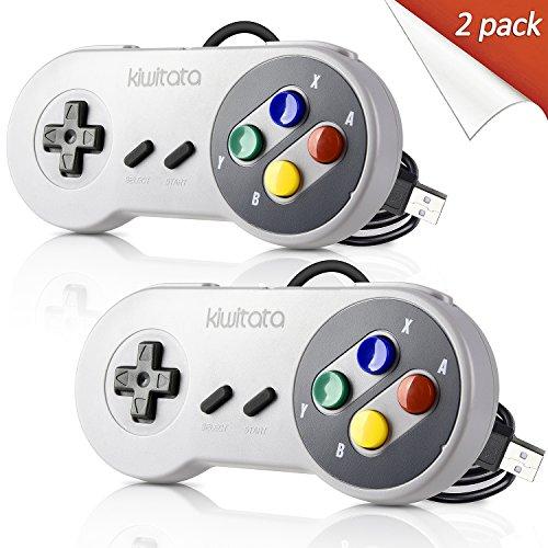 2 Pack Retro SNES Classic USB Controller Gamepad,kiwitatá USB PC Wired Game Controller Joysticks for Windows PC MAC
