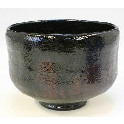Kiyomizu-kyo yaki ware. Japanese Matcha chawan teabowl Kuro raku lightning with wooden box. Ceramic. kymz-TSN733