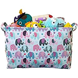 Canvas Toy Organizer Bins and Toy Storage with Elephant Designs for Kids
