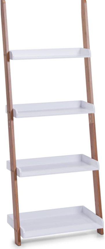 Estantería en escalera en bambú y blanco