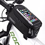MOOZO Bike Frame Bag, Rainproof Bicycle Cycling Front Top Tube Pannier Pouch Mountain City Bike MTB Crossbar Storage Bags for iPhone 8 7 6 6S Plus Samsung LG Smartphones 4.8-5.5 inch (Large Size)