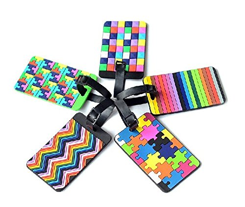 Adecco Llc 5pcs Colorful Tetris Pattern Rubber Id Tags Business Card