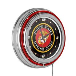 Marine Corps Chrome Double Ring Neon Clock