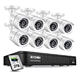 ZOSI 1080p Security Camera System for Home,CCTV DVR  8 Channel with Hard Drive 2TB and 4 x 1080p Surveillance Dome Camera Indoor/Outdoor,Remote Access, Customize Motion Detection