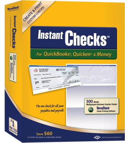 Instant Checks for QuickBooks, Quicken & Money: Form #1000 Business Voucher - Blue Prestige 500pk