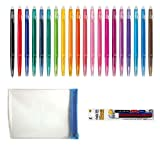 Pilot FriXion Ball Slim Retractable Erasable Gel Ink Pens, Extra Fine Point, 0.38 mm, 20 colors, Clear case and 3 color refills Value Set