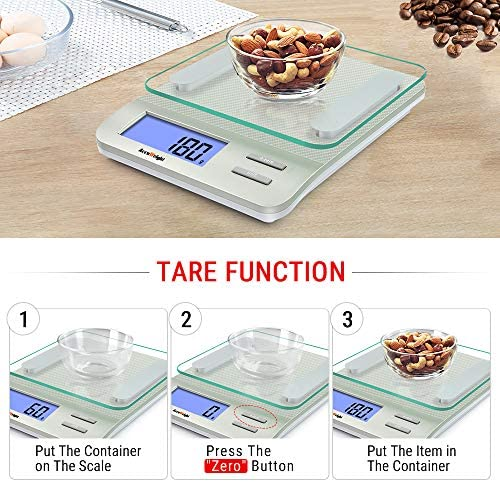 Accuweight 207 Digital Kitchen Multifunction Food Scale for Cooking with Large Back-lit LCD Display,Easy to Clean with Precision Measuring,Tempered Glass (Silver) 7