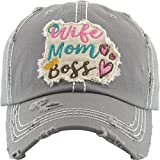 H-212-WMB21 Distressed Baseball Cap Vintage Dad Hat - Wife Mom Boss (Grey)
