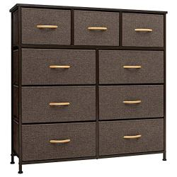 Crestlive Products 9-Drawer Extra Wide Dresser Storage Tower – Sturdy Steel Frame, Wood Top, Easy Pull Fabric Bins, Wood Handles – Organizer Unit for Bedroom, Hallway, Entryway, Closets(Brown)